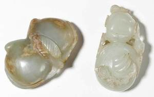 Carved Jade Double Peach and Double Gourd Pieces