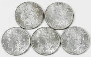 Five Uncirculated Philadelphia Morgan Dollars