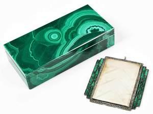 Small Malachite Box, Silver and Glass Pendant