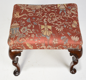 Queen Anne Style Upholstered Foot Stool