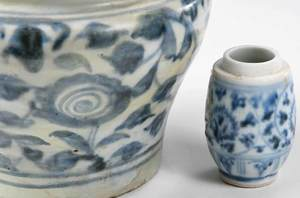 Six Asian Blue and White Ceramic Table Items