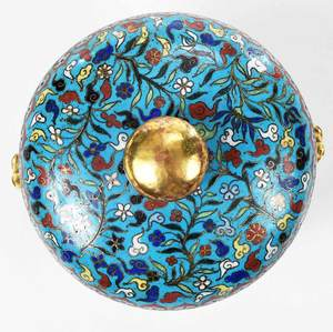 Round Chinese Cloisonne Box with Domed Cover