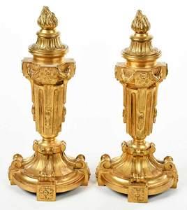 Pair Louis XVI Style Flame Finial Garnitures