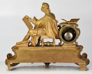 Louis Phillip Gilt Bronze Figural Mantel Clock