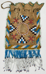 Native American Beaded Hide Pouch