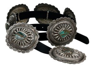 Silver, Turquoise and Leather Concho Belt