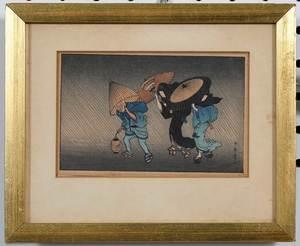 Group of Nine Framed Woodblock Prints