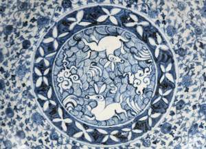 Chinese Porcelain Blue and White Dish with Rabbits