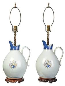 Pair Chinese Export Porcelain Pitcher Lamps
