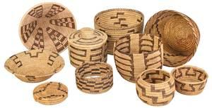 Ten Coiled Native American Baskets