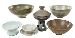 Seven Korean Ceramic Table Items