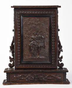 Black Forest Carved Wood Wall Cabinet