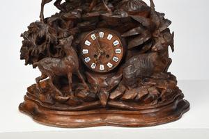Large Black Forest Carved Figural Mantel Clock