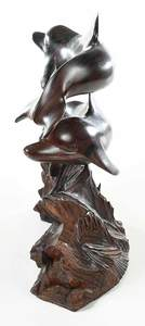 Carved Ironwood Dolphin Figural Group
