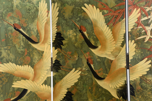 Six Panel Painted Lacquer Screen