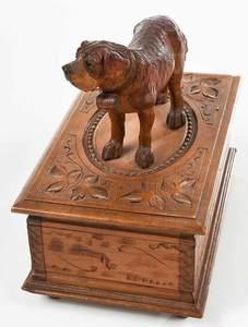 Black Forest Carved St. Bernard Mounted Box