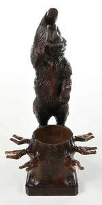 Black Forest Carved Bear Tantalus/Music Box