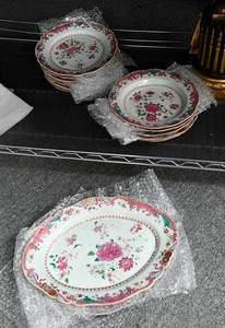 19 Piece Set Famille Rose Chinese Export Porcelain