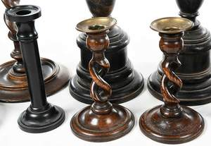 Six Pairs of Turned Wooden Candlesticks