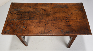 An Early English Oak Stretcher Base Table