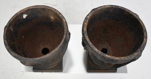 Pair of Cast Iron Lidded Garden Planters