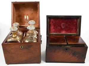 Three Mahogany Tea Caddies and Bottle Box