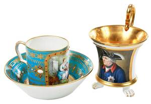 Finely Jeweled Sevres Cup and Saucer, KPM Cup