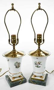 Pair of Herend Table Lamps, Pair Candelabras