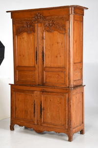 Provincial Louis XV Carved Pine Cabinet