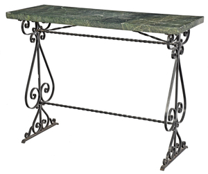 Wrought Iron Marble Top Pier Table