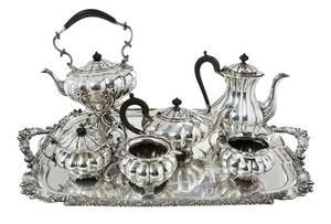 Six English Silver Tea Service, Silver Plate Tray