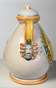Large Lidded Decorative Majolica Water Cooler