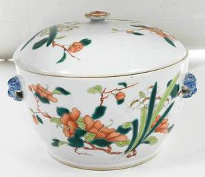 Fine Chinese Enamel Decorated Covered Rice Pot