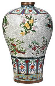 Large Baluster Form Chinese Cloisonne Vase