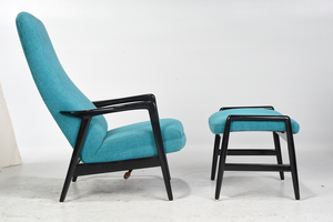 Pair Blue Upholstered Lounge Chairs and Ottomans