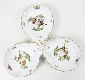 Ten Herend Rothschild Bird Serving Pieces