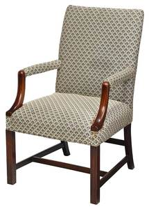 Chippendale Style Mahogany Library Chair