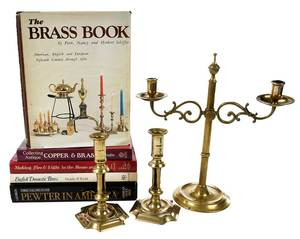Three Brass Candle Holders, Five Books on Metal