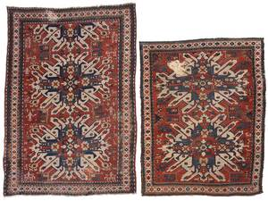 Two Similar Sunburst Kazak Rugs