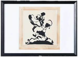 Four Signed Paper Cut Scherenschnitte Pictures