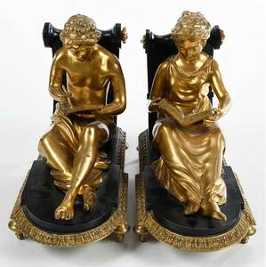 Pair Empire Style Gilt Bronze Figural Bookends