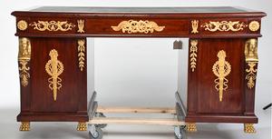 Empire Style Ormolu Mounted Partner's Desk, Chair