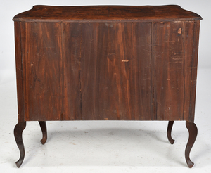 Pair Venetian Style Inlaid Burlwood Commodes
