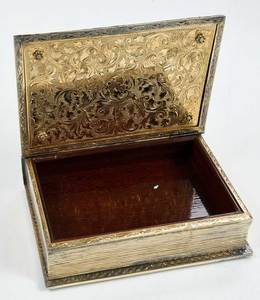 Silver Book Form Jeweled Box