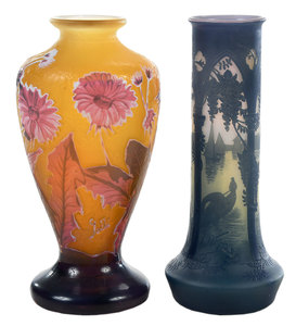 DeVez and Galle Cameo Art Glass Vases