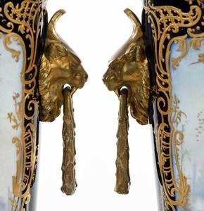 Pair Sevres Style Gilt Bronze Mounted Potpourri