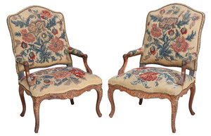 Pair of Provincial Louis XV Walnut Arm Chairs