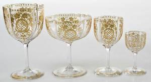38 Piece Gilt Bohemian Stemware and Barware Set