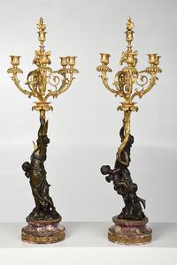 Fine Pair Louis XVI Gilt Bronze Figural Candelabra