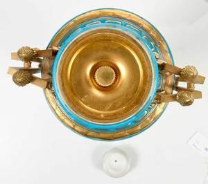 Fine Pair Jeweled Sevres Lidded Porcelain Urns